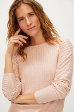 Cortefiel Metallic ribbed jumper Pink