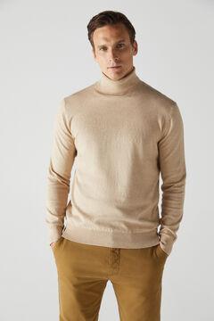 Cortefiel Cotton/cashmere polo neck jumper Brown
