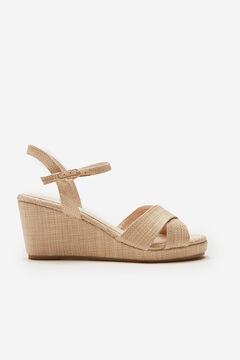 Cortefiel Raffia wedge sandal Brown