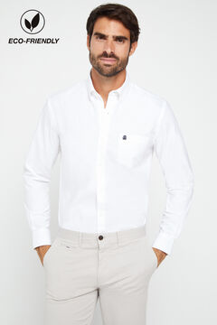 Cortefiel Plain organic cotton Oxford shirt White