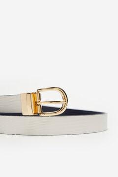 Cortefiel Faux teju reversible belt Ecru