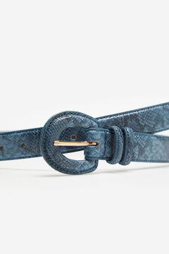 Cortefiel Snake print belt with covered buckle Royal blue