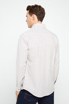 Cortefiel Checked twill shirt Red garnet