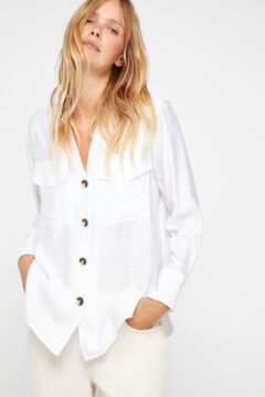 Cortefiel Maxi pockets shirt White