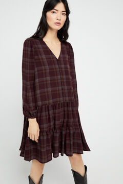 Cortefiel Checked shirt dress Beige