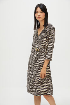 Cortefiel Printed V-neck dress Black