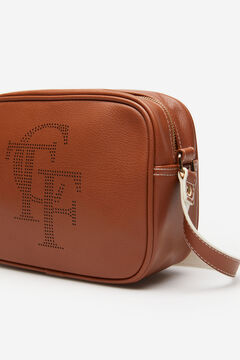 Cortefiel Cutwork logo crossbody bag Tobaco