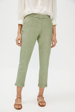 Cortefiel Belted linen trousers Green