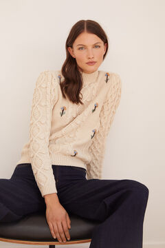 Cortefiel Jumper with embroidery Ecru