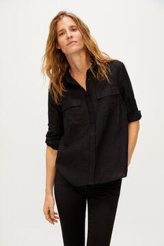 Cortefiel Lapel collar shirt Black