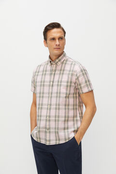 Cortefiel Checked short-sleeved linen and cotton shirt Pink