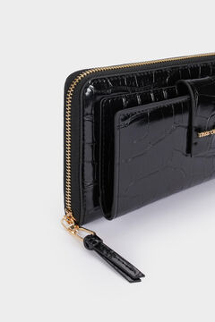 Cortefiel Long embossed wallet Black