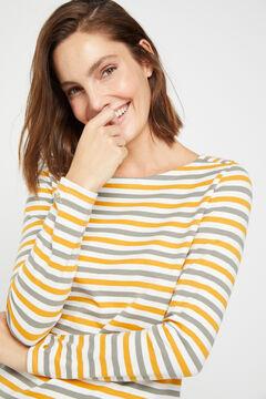 Cortefiel Boat neck t-shirt Beige