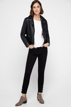 Cortefiel Zipped leather jacket Black