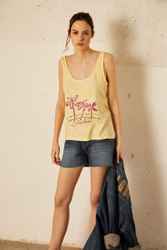Cortefiel Camiseta de tirantes Amarillo