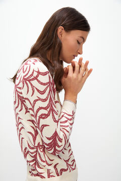 Cortefiel Printed jersey-knit jacket Red