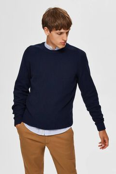 Cortefiel Organic cotton round neck jumper Navy