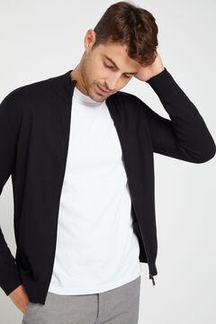 Cortefiel Zip up cardigan Black