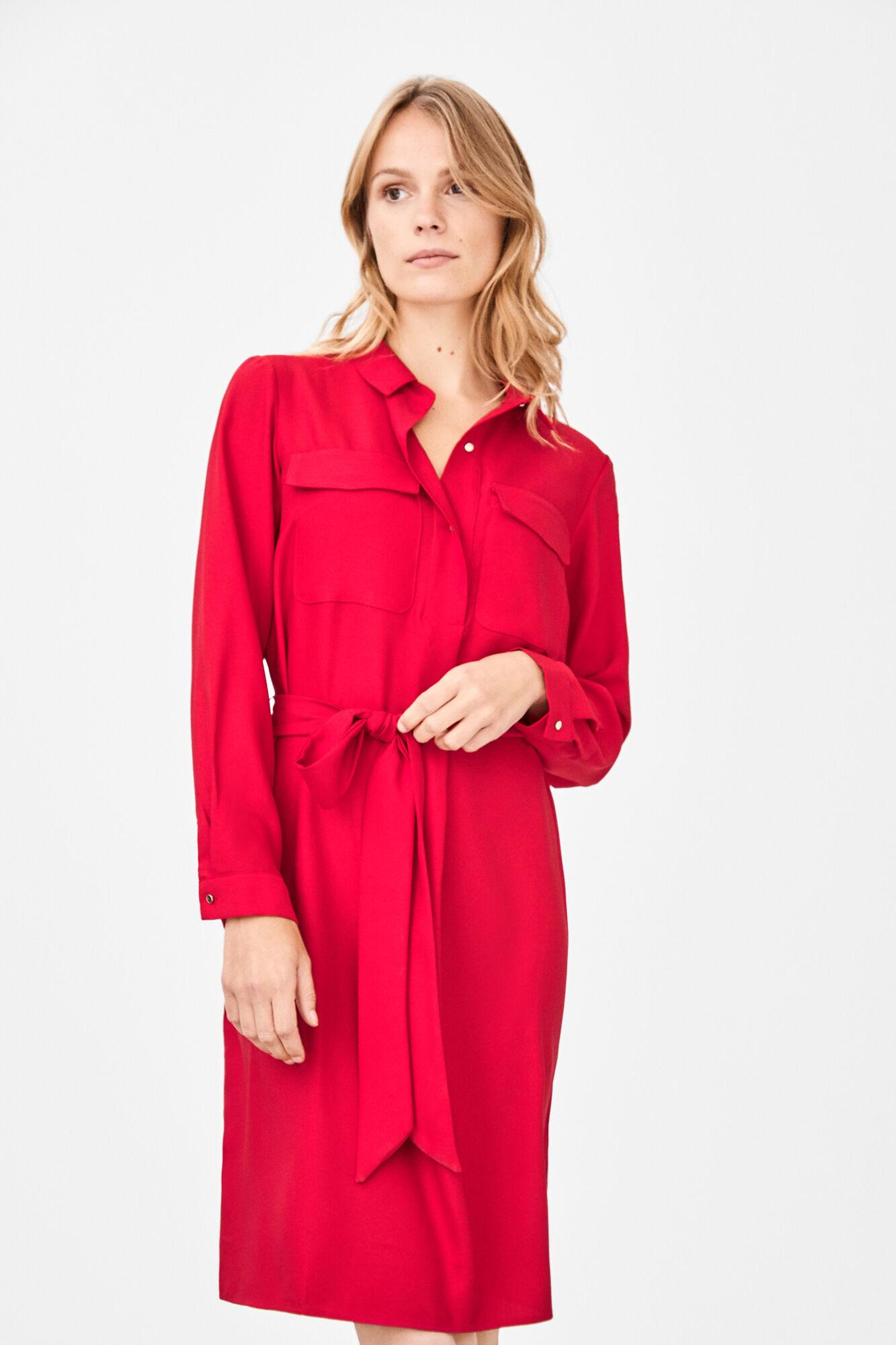 Vestido rojo corto manga francesa
