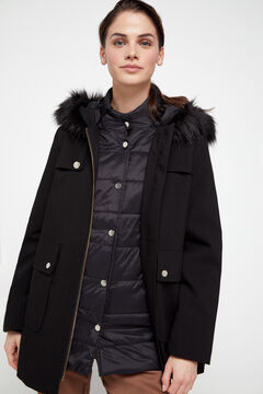 Cortefiel Duffel coat with removable interior anorak Black