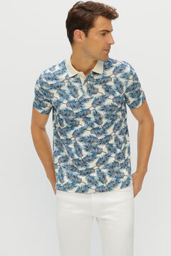 Cortefiel Short-sleeved logo polo shirt Ecru