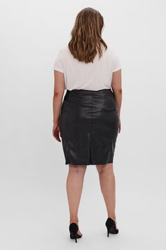 Cortefiel Curve faux leather skirt Black