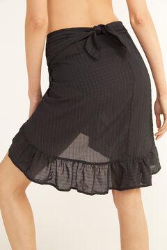Cortefiel Tie waist wrap skirt Black