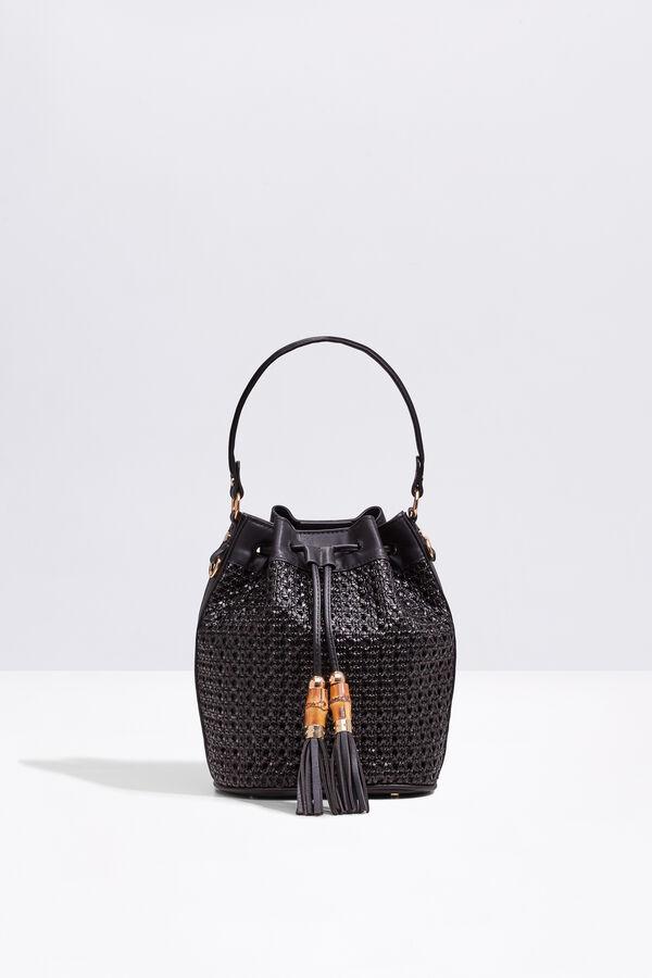 f2f04f4e16 Cortefiel Woven bucket bag Black