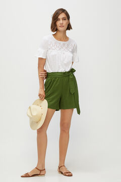 Cortefiel Belted shorts Green