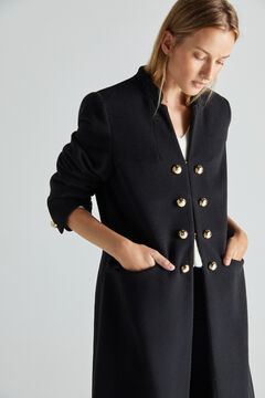 Cortefiel Long black coat with buttons Black