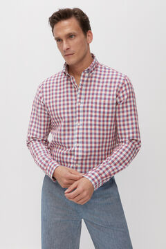 Cortefiel Checked linen and cotton shirt Plum