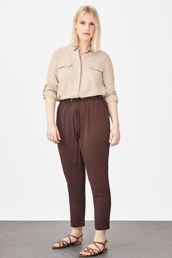 8e451a8c9090 Cortefiel Floaty trousers with eyelets Dark brown