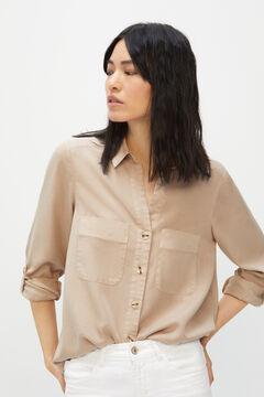 Cortefiel Camisa cargo 100% lyocell Kaki