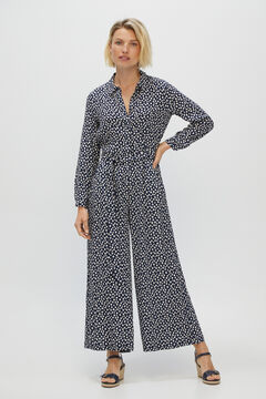 Cortefiel Long shirt jumpsuit Blue