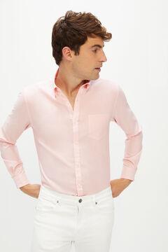 Cortefiel Plain extra soft end-on-end organic cotton shirt Orange