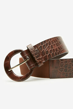 Cortefiel Wide stretch belt with covered buckle, in faux crocodile material Tobaco
