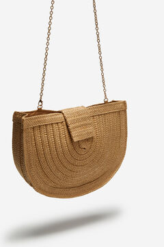 Cortefiel Raffia mobile phone pouch Brown