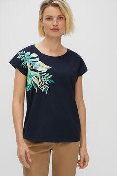 Cortefiel Printed T-shirt Navy