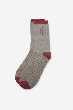 Cortefiel Long striped print socks Gray
