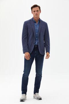 Cortefiel Slim fit medium wash jersey-knit jeans Royal blue