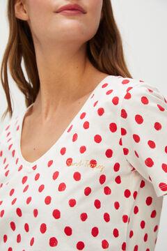 Cortefiel Polka-dot slogan print T-shirt Redgarnet