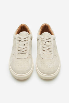 Cortefiel Lace-up rubber sole trainer Stone