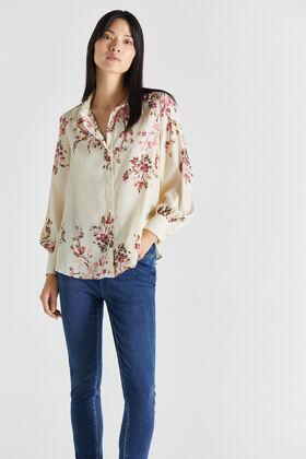 Cortefiel Printed shirt Ecru