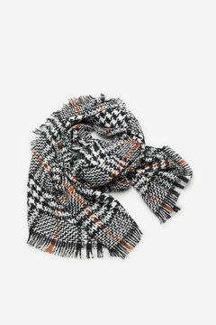 Cortefiel Harris checked scarf Ecru