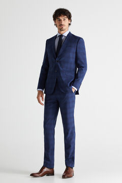 Cortefiel Checked slim fit stain resistant trousers Royal blue