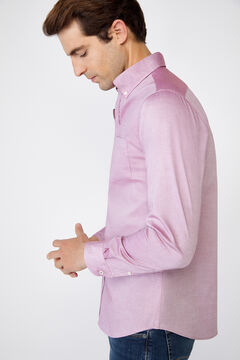 Cortefiel Plain extra soft cotton easy-iron shirt Fuchsia