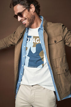 Cortefiel Short-sleeved graphic T-shirt Ecru