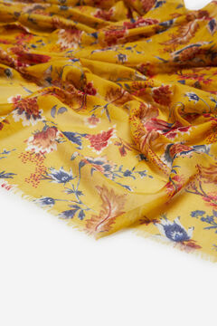 Cortefiel Blue floral print recycled polyester scarf Beige