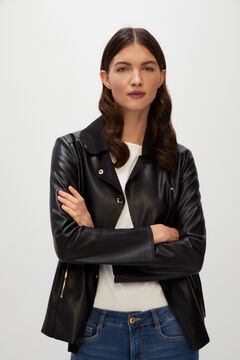 Cortefiel Faux leather biker jacket Black