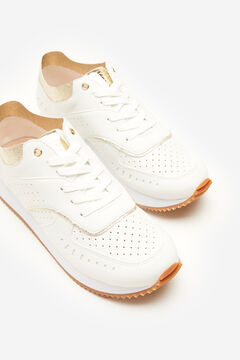 Cortefiel White trainer with gold White